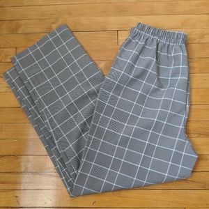 Brown & White high-waisted Checked Trouser